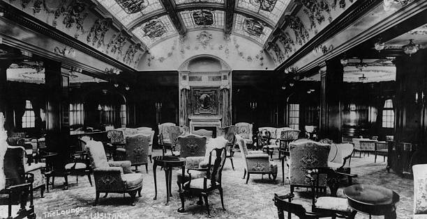 The magnificent lounge of the Cunard steamship Lusitania,...