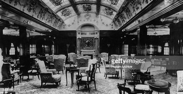 The magnificent lounge of the Cunard steamship Lusitania which was torpedoed by a German submarine during World War I