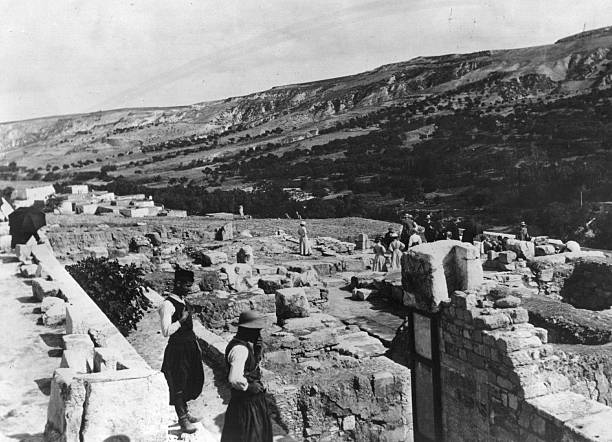 The ruins of the palace of Minos at Knossos or Cnossus,...