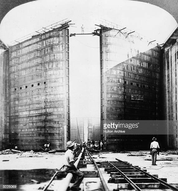 Workers at the base of the foot gate of Gatun Locks during the construction of the Panama Canal Gatun Panama