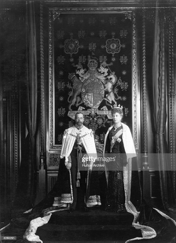 George V (1865 - 1936), who succeeded to the throne as George V on the death of his father, Edward VII in 1910. He is with his wife, Queen Mary (1867 - 1953) formerly Princess Mary of Teck, whom he married in 1893 in the Robing room of the House of Lords.