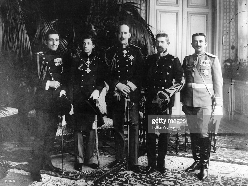From left, Prince Alexander Karadjordjevic of Serbia (1888 - 1934), Prince Boris of Bulgaria (1894 - 1943), Prince Constantine of Greece (1868 - 1923), Prince Ferdinand of Romania and Prince Danilo of Montenegro.