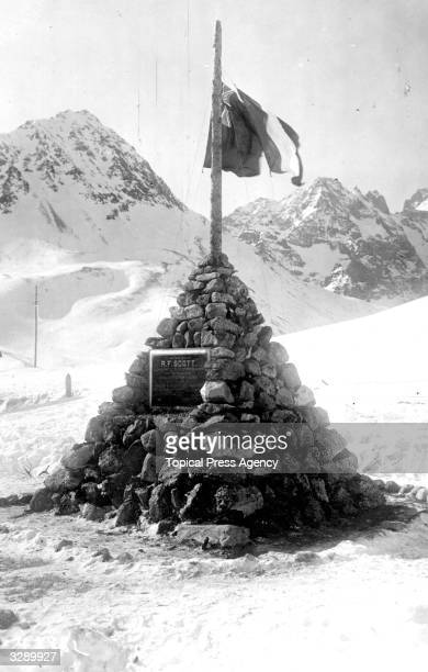 The unveiling of the monument erected in memory of Antarctic explorer Commander Robert Falcon Scott in the French Alps where he tested dog sledges...