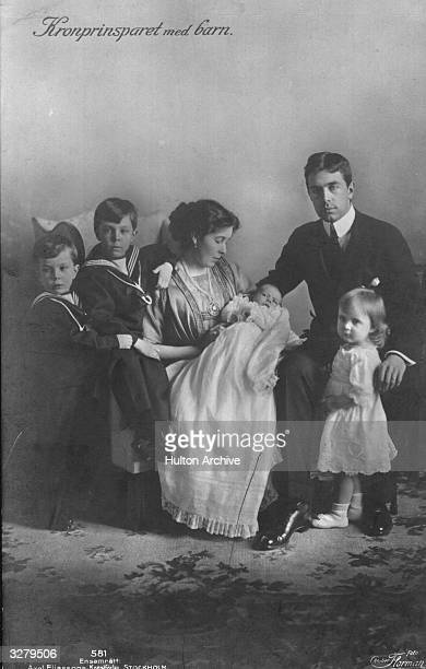 Crown Prince Gustav of Sweden with his wife Margaret sons Gustav Adolf Sigvard and Bertil and daughter Ingrid He ruled the country from 1950 until...