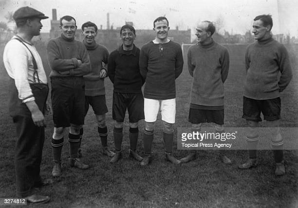 From left to right are G Hardy the trainer J Lievesley the goalkeeperS J Stonley J Flanagan the Captain G Jobey Jack Rutherford a newcomer to the...