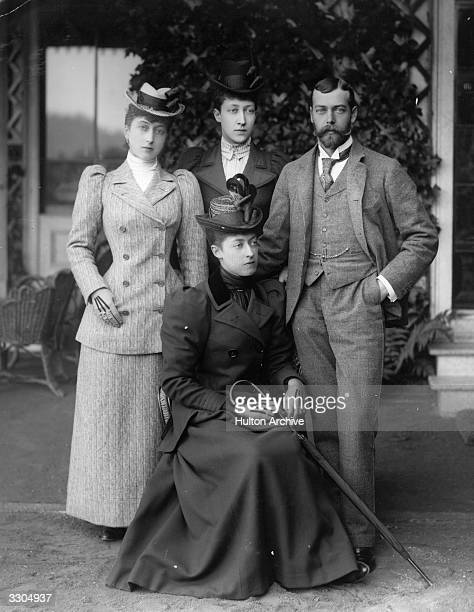 King George V, , king of Great Britain, with his sisters. From left, Maud, Queen of Norway, ; Duchess of Fife, Louise, Princess Royal, ; and seated,...