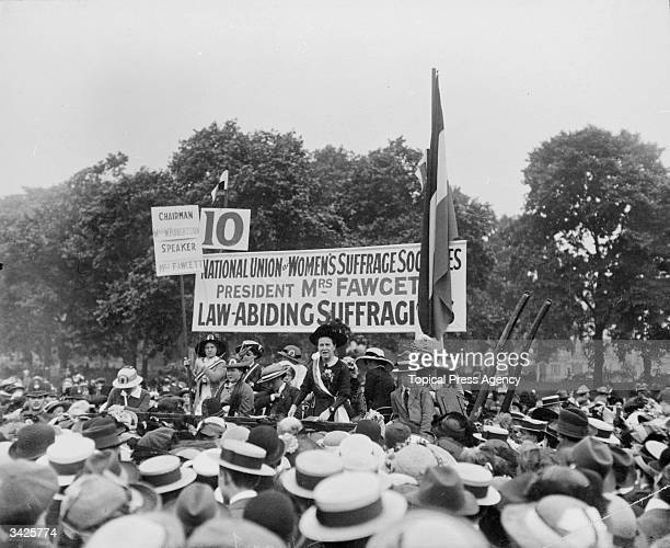 The English suffragette and educational reformer Dame Millicent Fawcett addressing a meeting in Hyde Park as president of the National Union of...