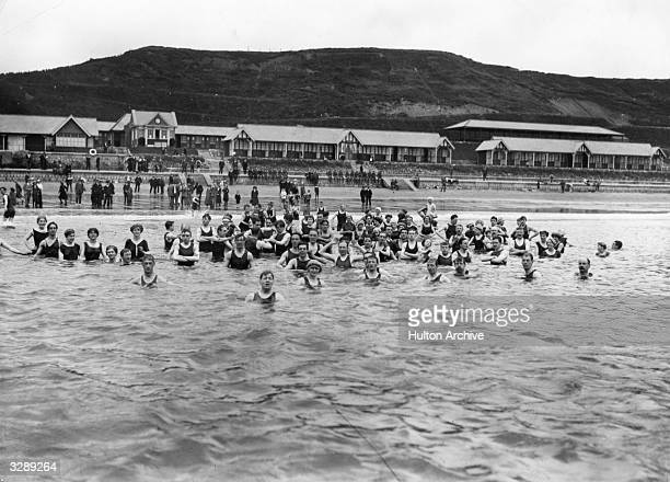 Bathers on the North Sands at Scarborough about 1914