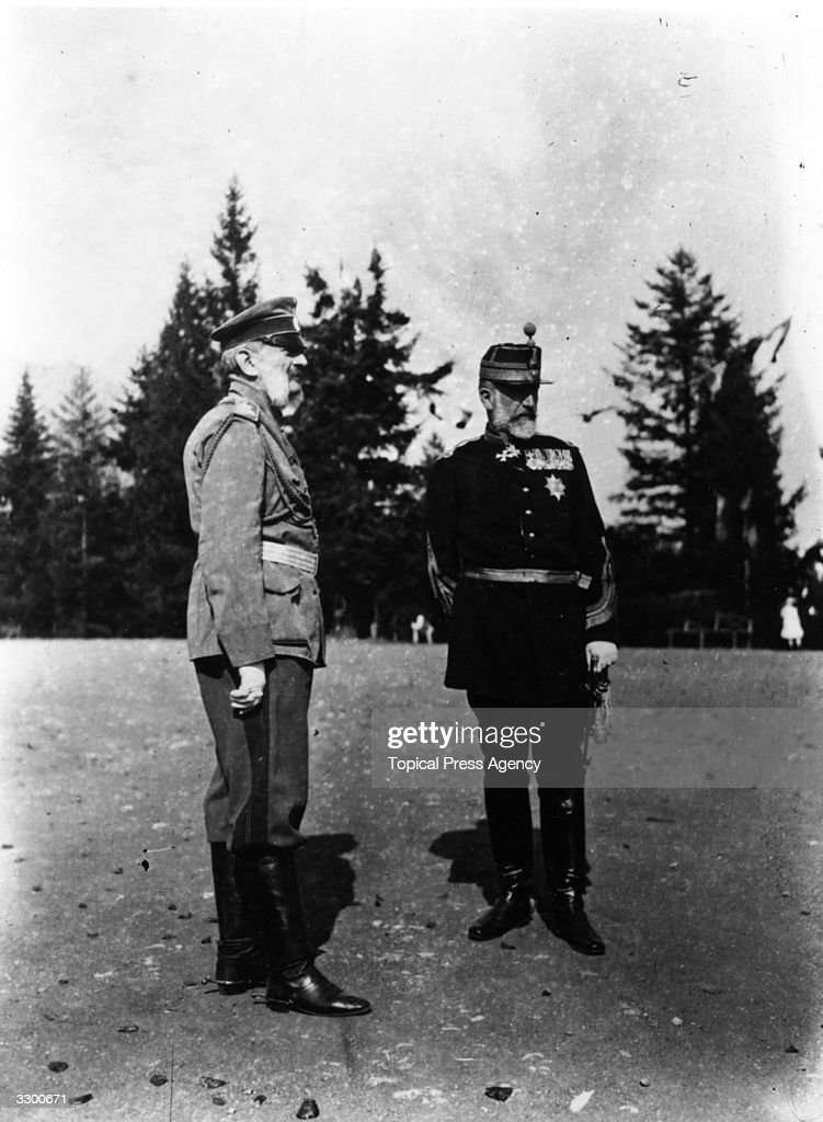 Carol I (1839 - 1914), king of Romania from 1881. At the beginning of World War I he declared Romania neutral. He is with Grand Duke Vladimir of Russia.