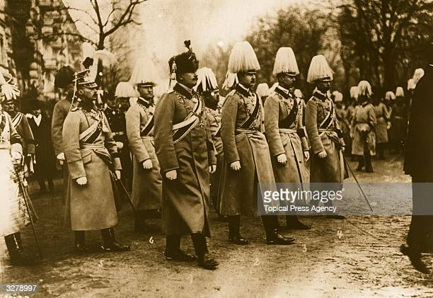 Friedrich Wilhelm, Crown Prince of Germany and eldest son of Wilhelm II is in line and on parade with Adalbert, Auguste, Eitel, Joachim, Oskar...