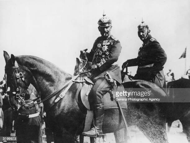 Kaiser Wilhelm II Emperor of Germany and King of Prussia in the field during army manoeuvres with General Helmuth Johannes Ludwig von Moltke