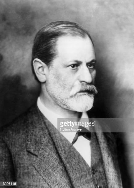 Studio portrait of Austrian psychoanalyst Sigmund Freud wearing a jacket and vest