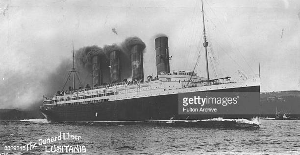 The Cunard Liner 'The Lusitania' Torpedoed by a German submarine off the coast of Ireland 'The Lusitania' sank with a large loss of life Amongst the...
