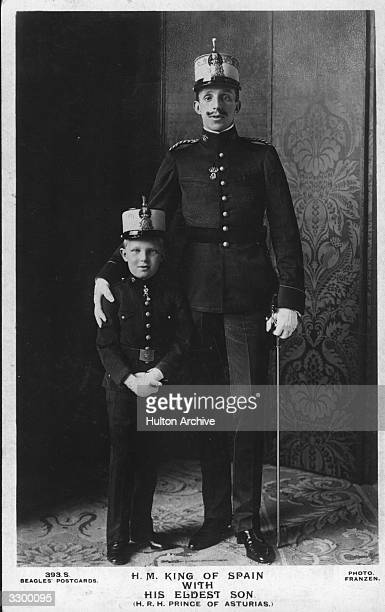 King Alfonso XIII of Spain king of Spain from 1886 to 1931 with his eldest son Alfonso Prince of Asturias the heir to the Spanish throne