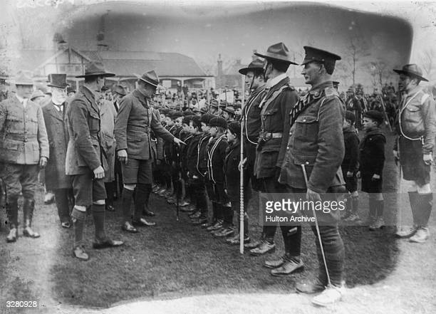 Lord Robert BadenPowell founder of the Boy Scout movement inspecting Scouts during the first world war