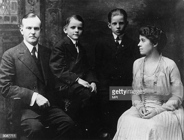 Republican politician and later the 30th President of the United States Calvin Coolidge with his wife Grace Goodhue Coolidge and their sons Calvin Jr...