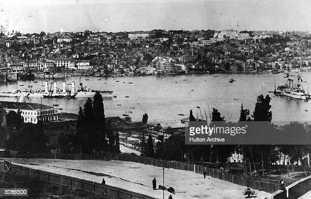 The German cruiser 'Breslau' in the bay at Constantinople where she was seconded to the Turkish Navy and renamed 'Midilli' On the right is the...