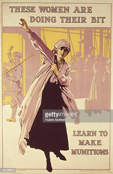A British recruitment poster urging women to work in the munitions factories as part of Britain's homefront during World War I