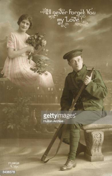 A postcard showing a soldier in uniform dreaming of his sweetheart with the inscription 'I'll never forget you my love'