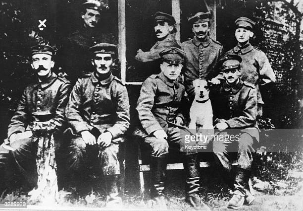 Corporal Adolf Hitler with other soldiers during the First World War