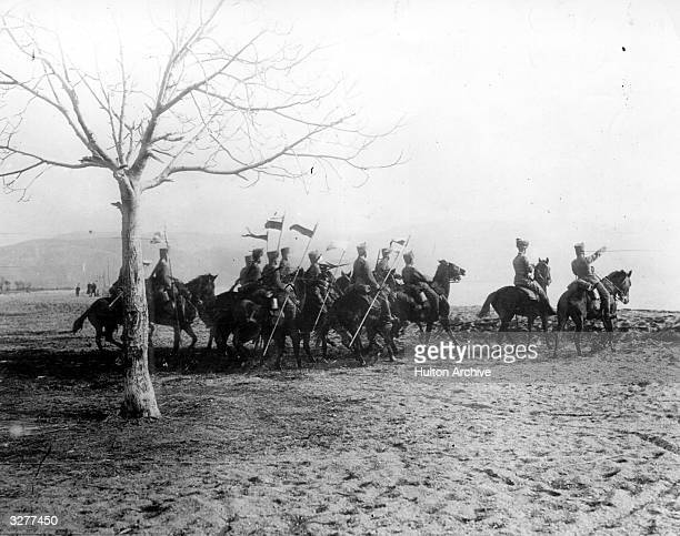 German cavalry patrol with lances and cossack hats in Serbia