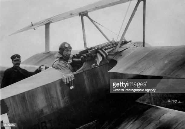 German fighter pilot Hermann Goering in the cockpit of a Fokker DR1