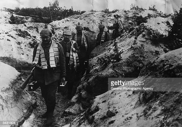 German soldiers walking along a support trench during World War I