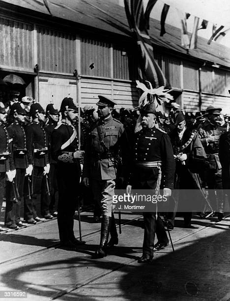 Lord Kitchener of Khartoum at Southampton Docks inspecting a guard of honour after he returned from South Africa