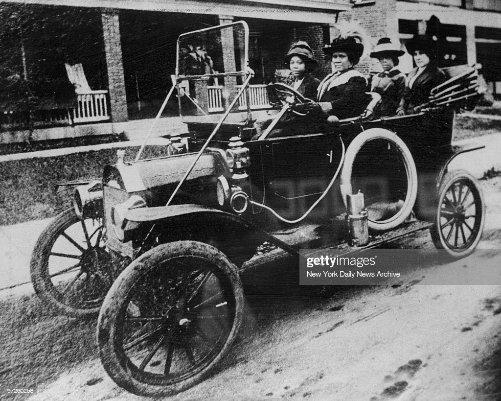 Circa 1916 of Madam C.J. Walker the first Black woman millionaire at the wheel of her car.