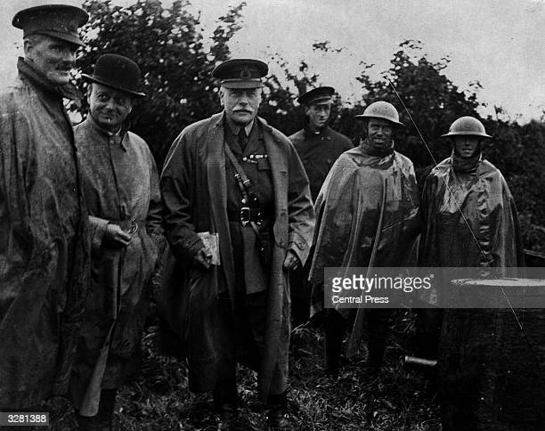Scottish soldier and Field Marshal Douglas Haig 1st Earl Haig of Bemersyd visiting the troops during World War I Haig born in Edinburgh was educated...