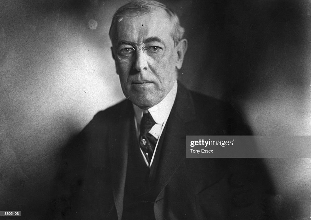 The 28th President of the United States Woodrow Wilson (1856 - 1924).