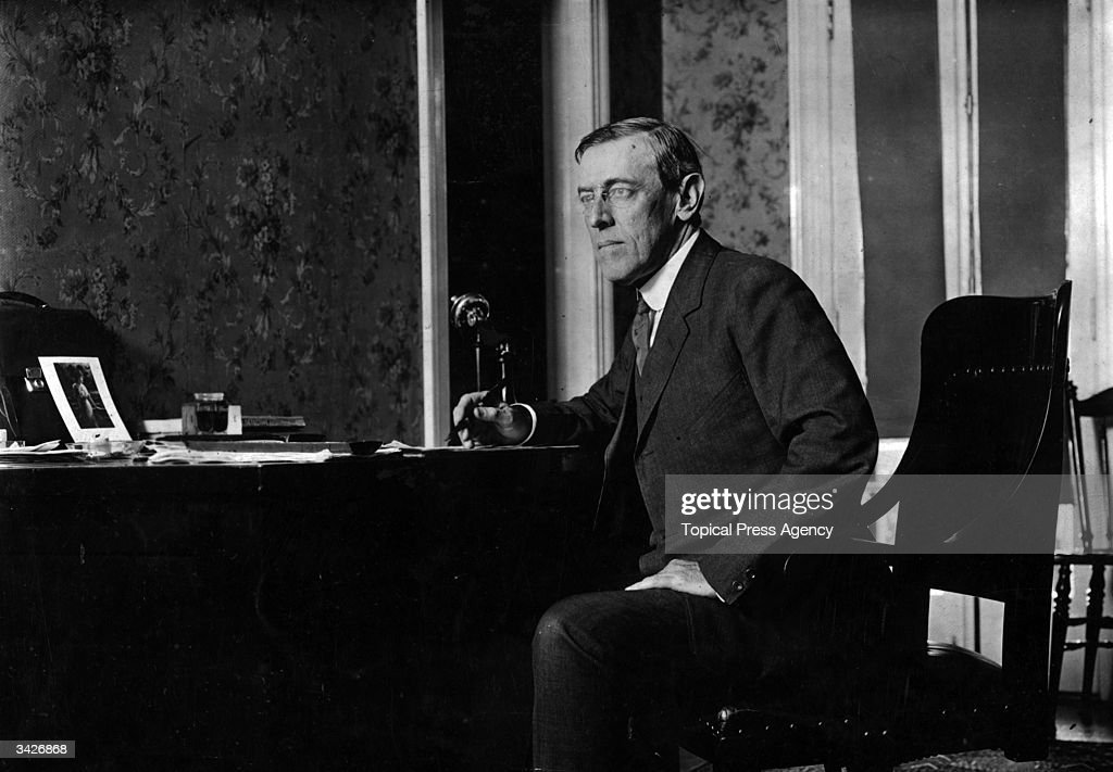 Woodrow Wilson (1856 - 1924) the 28th President of the United States of America.