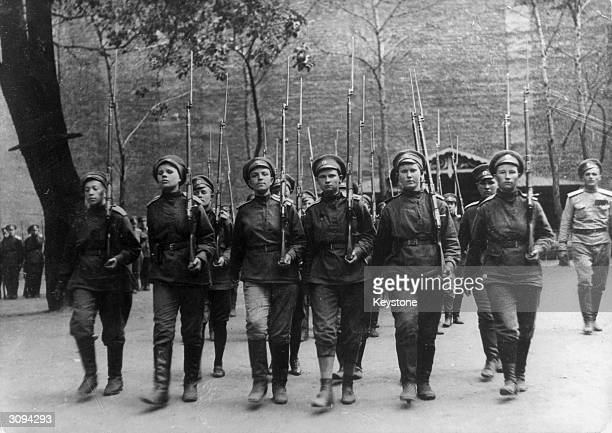 A contingent of female Russian soldiers after the Revolution