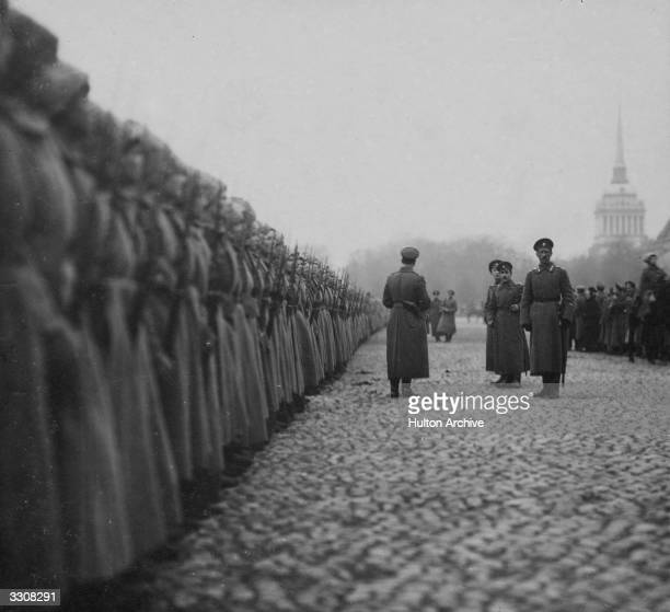 Women's battalion lined up before a parade. Original Publication: Russian Album