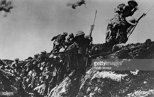 Allied soldiers in the British sector climb out of a trench during World War I Ypres Belgium