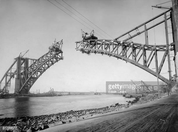 Circa 1917, Construction of Hellgate Bridge, New York City.