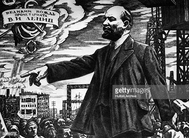 Russian revolutionary and leader Vladimir Ilyich Lenin addressing a crowd during the Russian revolution