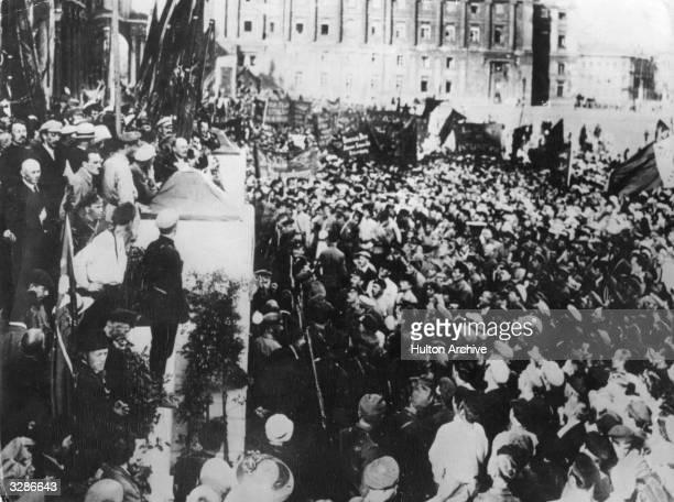 Russian revolutionary Vladimir Ilyich Lenin addressing the crowds during the Russian Revolution