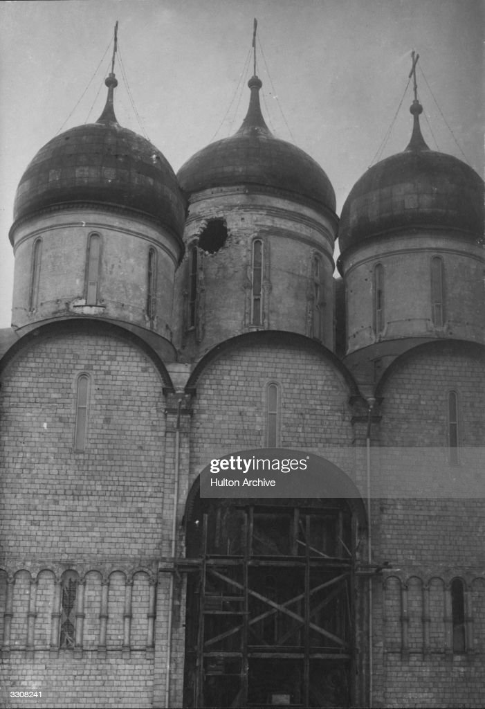 Uspensky Cathedral, Moscow, damaged by shrapnel during the Russian Revolution. Original Publication: Russian Album