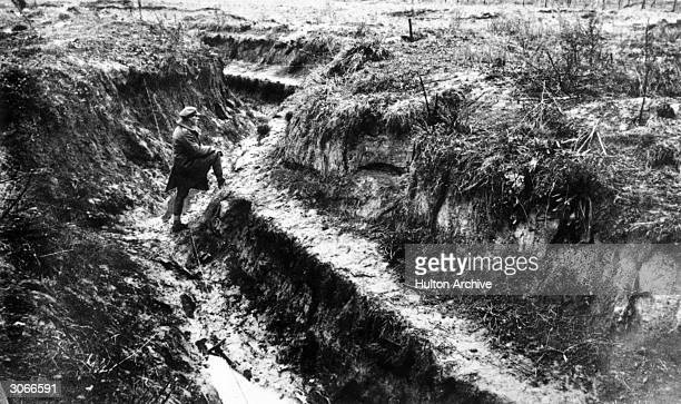 A section of a Hindenburg trench near Cologne Farm Part of the 'Hindenburg Line' a series of trenches running across northern France instigated by...