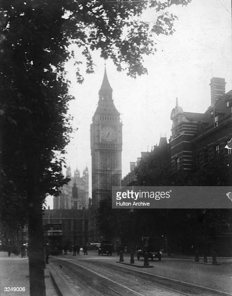 Big Ben and the Houses of Parliament seen from the Embankment in Westminster London