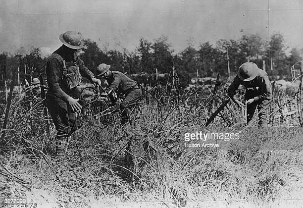 Engineers clearing away wire entanglements from a German position to make way for a new road to the front North West of Verdun France