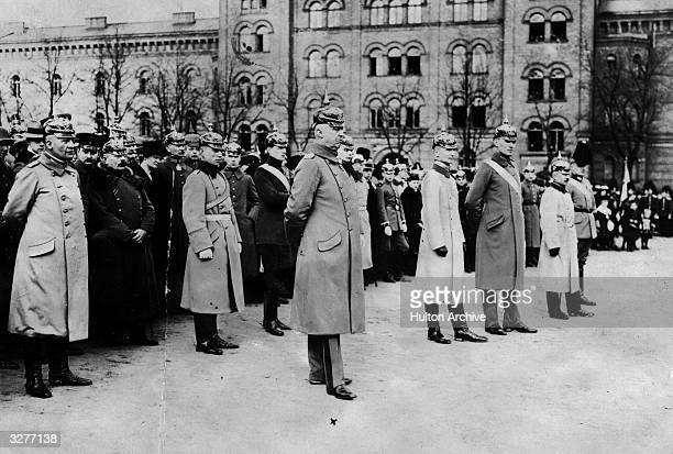 German Chief of Staff in East Prussia Erich Ludendorff with other officers at a passing out parade at Lichterfelde High School near Berlin