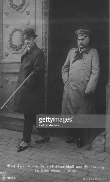 German soldier General Paul von Beneckendorff und von Hindenburg in Berlin with Oskar Theodor Count Czernin, the Austrian Foreign Minister.