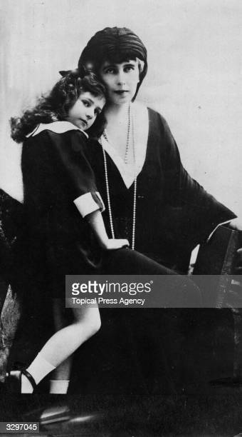 Princess Ileana of Romania with her mother, Queen Marie .