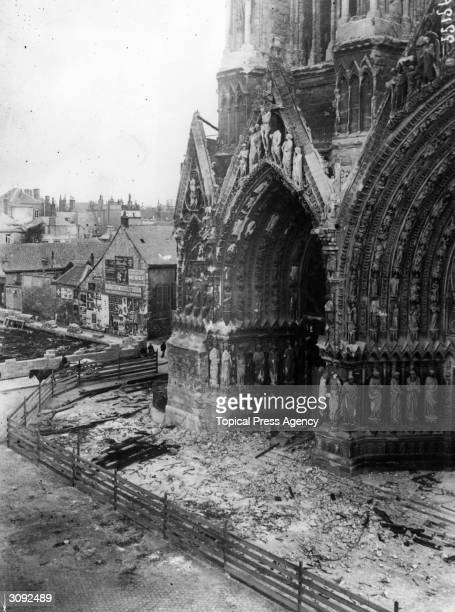 The damaged facade of Reims Cathedral during WW I