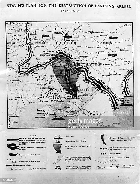 A map showing Stalin's plan for the destruction of Denikin's armies which are lying close to Rostov on the Ukrainian border General Anton Denikin...