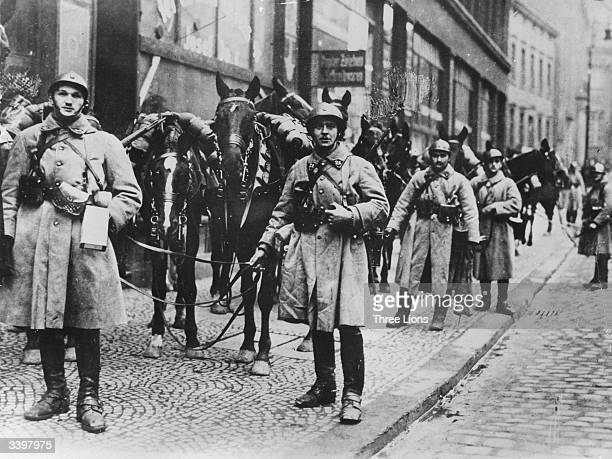 French soldiers and their horses occupying Essen in the German Rhineland