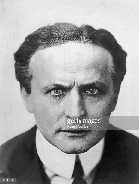 Studio headshot portrait of Hungarianborn magician and escape artist Harry Houdini