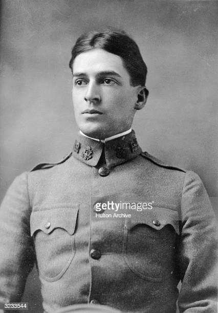 Studio portrait of American military leader Douglas MacArthur as an Army lieutenant in uniform